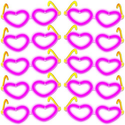 10 Knicklichter Herzbrillen PINK (ROSA) Universalgröße im Komplettset