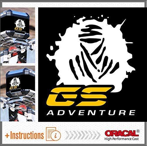 2pcs Dakar GS Adventure ADESIVI R 1200 1150 F 800 650 F700 GS A R1200GS R1200 Motorrad Touratech Givi Trekker Outback Motorcycle Aluminium Panniers VALIGIE LATERALI Top CASE (Bianco/Giallo)