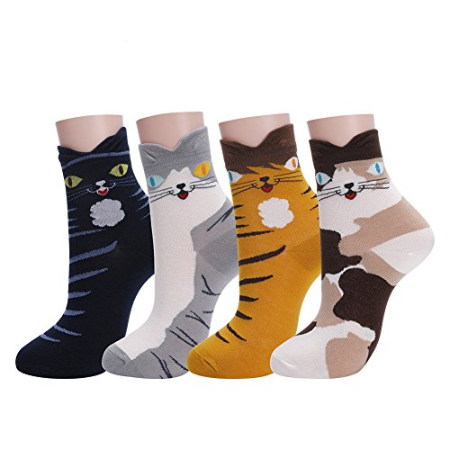 Womens Cat Socks Girls Cartoon Animal Funny Comfortable Casual Cotton Novelty Crew Socks 4 Pack