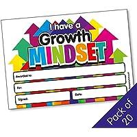 Growth Mindset - Certificados de recompensa escolar A5 x 20 - Servicios de enseñanza primaria