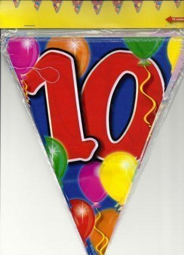 10m Girlande Zahl 10 Geburtstag Jubiläum Wimpelkette