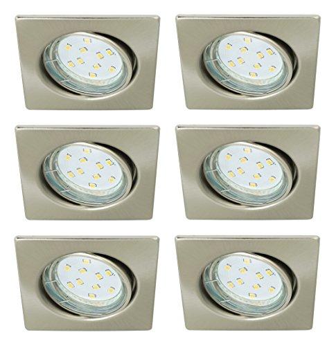 Trango Lot de 6carrée Look acier inoxydable Spot tg6729–062sb avec 6x GU103W Power SMD Ampoule LED encastrables plafonniers orientable 230V