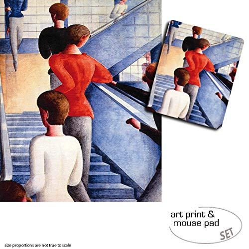 Geschenkset: 1 Poster Kunstdruck (50x40 cm) + 1 Mauspad (23x19 cm) - Oskar Schlemmer, Bauhaustreppe,...