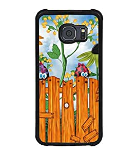 Fuson Premium 2D Back Case Cover Cute birds With Brown Background Degined For Samsung Galaxy S6::Samsung Galaxy S6 G920