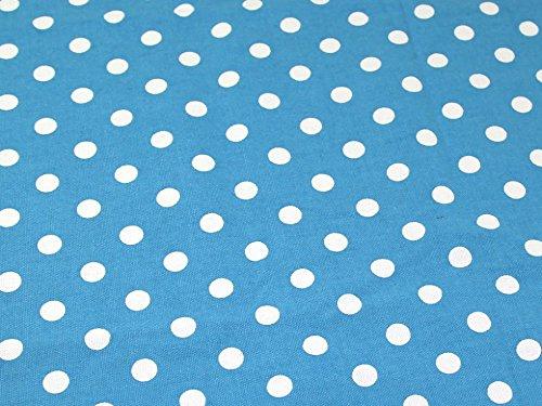 Spotty Polka Dot Print Baumwolle Canvas Stoff, Meterware, Türkis -