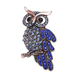 AiSi Jewelry Crystal Owl Brooch Pins for Women Men