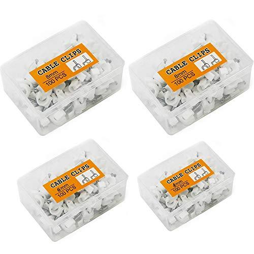 Xinlie 400Pcs Abrazadera para cable Blanco Abrazadera para cables Clavo Cable Pared Clip para Cable Redondo con caja de PP portátil Surtido tamaños:4 mm,6 mm,8 mm,10 mm(por tamaño 100Pcs)
