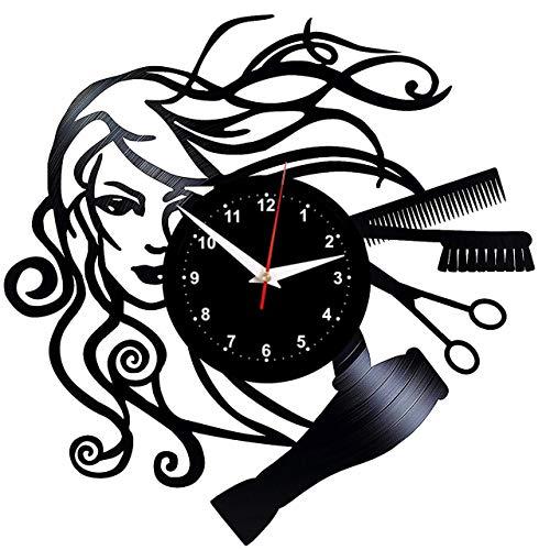"""EVEVO peluqueria Reloj De Pared Vintage Accesorios De Decoración del Hogar Diseño Moderno Reloj De Vinilo Colgante Reloj De Pared Reloj Único 12\"""" Idea de Regalo Creativo Vinilo Pared Reloj peluqueria"""