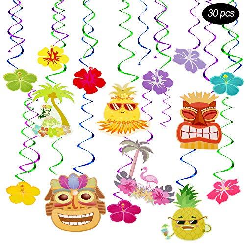 Wirbelt Hawaiian Party Dekorationen Decke Streamer Whirls für Geburtstag Hochzeit Tropical Sommer Strand Luau Party Supplies 30 Stück ()