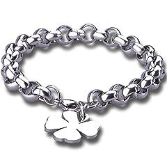 Idea Regalo - Stayoung Jewellery Bracciale Fascia Da Uomo/Acciaio INOX Bloccaggio Fortunato Quadrifoglio Con Quattro Facciate, Lunghezza 19 cm, 8