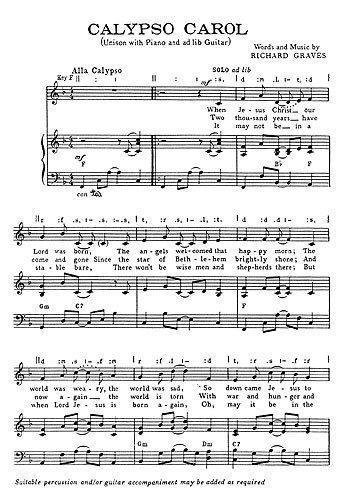 Graves, R Calypso Carol Unison. Noten für KLavier, Gesang & Gitarre