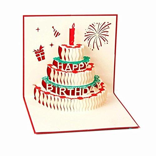 Monbedos, biglietto d'auguri di compleanno in 3d, carta regalo con torta, idea regalo per la festa della mamma o festa di compleanno, inviti di nozze red