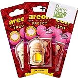AREON Auto-Lufterfrischer Parfüm Fresco 4 ml - Kaugummi-Duft - Hängende Flasche Diffusor mit Echtholzdeckel, langlebig, Set von 3