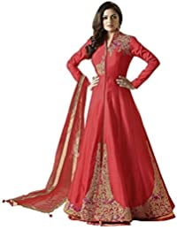 Ethnic Empire Women Taffeta Silk Anarkali Semi-Stitched Wedding Salwar Suits For Women (New_FlexER10754_Red_Free...