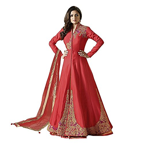 Ethnic Empire Women\'s Taffeta Silk Semi Stitched Anarkali Salwar Suits (Eed-Ea10754_Red_Free Size)