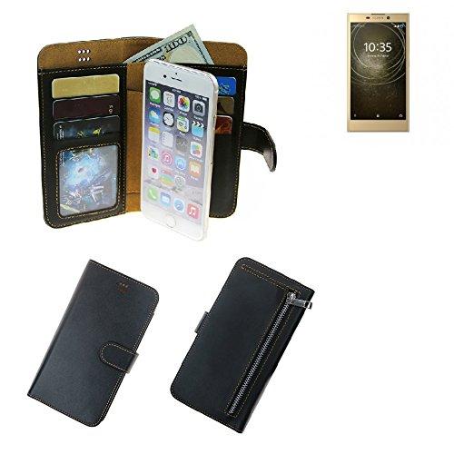 K-S-Trade® Für Sony Xperia L2 Dual-SIM Portemonnaie Schutz Hülle Schwarz Aus Kunstleder Walletcase Smartphone Tasche Für Sony Xperia L2 Dual-SIM - Vollwertige Geldbörse Mit Handyschutz