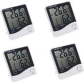 KKMOON 4PCS HTC-1 LCD Digital Temperatur Luftfeuchtigkeit Meter Hygrometer Wecker Zeit mit Halter