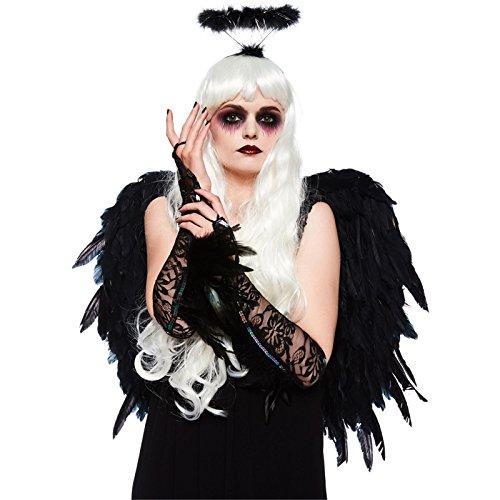 Dunkler Engel Accessoires Kostüm-Set - Flügel, Handschuhe & (Kit Engel Schwarzer Kostüme)