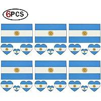 Ndier Tatuaje Temporal de Banderas Nacionales de Copa Mundial 2018 para Cuerpo y Cara Pegatina de Bandera de Argentina para Fútbol Fans6 pcs