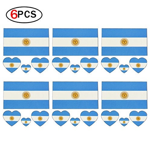 2018 World Cup FIFA National Flags Tattoo,Bandera de Etiquetas Autoadhesivas de La Cara del Tatuajes Temporales de Las Banderas Argentina de Moda para Los Fanáticos del Fútbol que Miran Deportes del Fútbol 6 Hojas del Juego