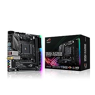 Asus ROG Strix B450-I Gaming Mainboard Sockel AM4 (Mini-ITX, AMD B450, DDR4 Speicher, USB 3.1, duales M.2, Aura Sync)