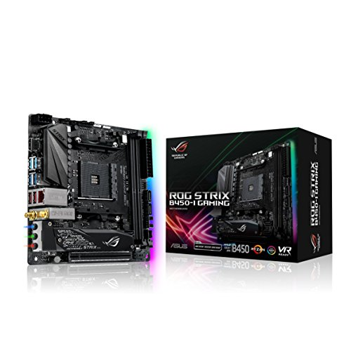Asus ROG Strix B450-I Gaming Mainboard Sockel AM4 (Mini-ITX, AMD B450, DDR4 Speicher, USB 3.1, duales M.2, Aura Sync) 12 Pin Panel