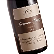 Regalo personalizable para cumpleaños: botella de vino personalizada con sus iniciales, nombre, año de nacimiento y dedicatoria