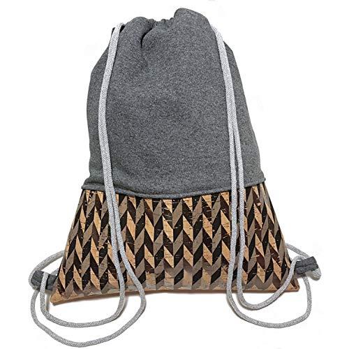 Turnbeutel - Dunkelgrau Kork - Rucksack aus Sweat und Kork | Handarbeit | 3 Größen verfügbar | Tasche Sportbeutel Gym Bag Jutebeutel Beutel