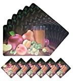 Kotak Sales Positive Feeling 3D Printed Holographic Fruit Juice Design Placemats for Table 6 Mats + 6 Coasters Set Protects Foods Stains at Bed, Sofa Table Etc
