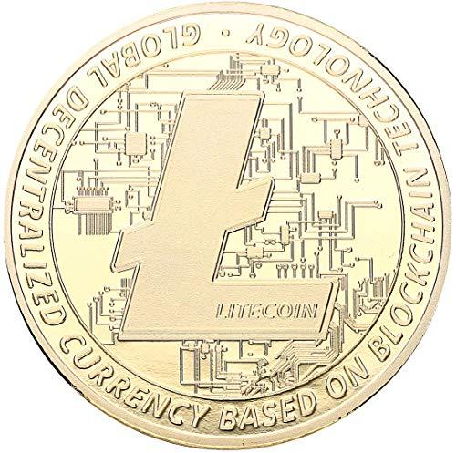 """Echte """"Litecoin""""-Münze in Goldprägung - Crypto-Coin Mining Miner Medaille Sammelmünze in 40mm..."""