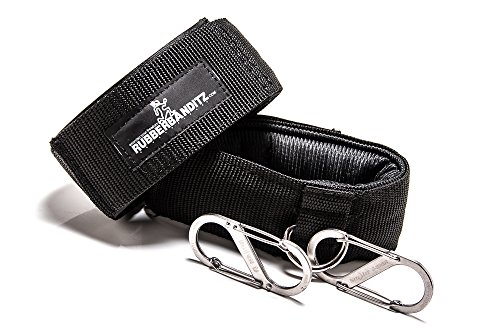 Rubberbanditz Ankle Cuff Grips and Carabiners For Resistance Band Training - Set Includes (2) Black Ankle Grips and (2) Wire Gate Stainless Steel Carabiner Clips For Resistance Bands or Cable Machines