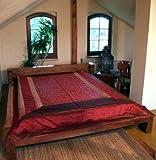 Guru-Shop Brokatdecke, Tagesdecke, Bettüberwurf - Weinrot, Synthetisch, 270x230 cm, Patchwork Steppdecke aus Indien