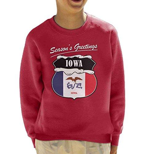 Seasons Greetings Iowa State Flag Christmas Kid's Sweatshirt (Sweatshirt Flag State)