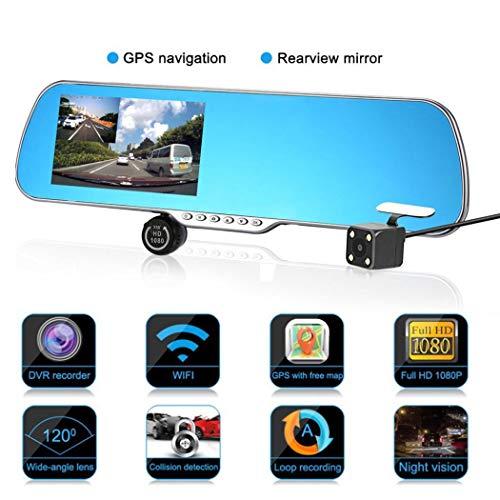 NPNPNP Aufnahmegerät Fahren 5-Zoll-Navigation Rearview Mirror Driving Recorder Double Kit Millionen Lens 2.0 Umkehrung 5v-Spiegel Bild 8h -