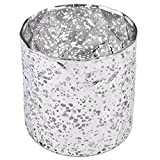 Dadeldo Windlicht Cosy Vintage Design Glas silber weiss Teelichthalter (9x9x9cm)