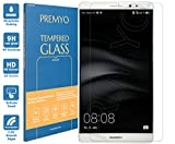 PREMYO verre trempé Mate 8. Film protection Huawei Mate 8 avec un degré de dureté de 9H et des angles arrondis 2,5D. Protection écran Huawei Mate 8 (un peu plus petit que l'écran aux bords incurvés)