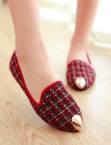 Shangyi Gyht Shoes Mujer - Mocasines - Ocio / Casual - Acentuado - Plano - Piel Sintética - Negro / Rojo Negro