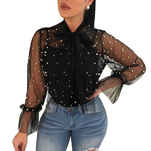 Juleya Damen Bluse Netz Transparentes Hemd Perle Langarmshirt Einfarbig Rüschen Top Mit Bowknot Frauen Weich Bequem Oberteil