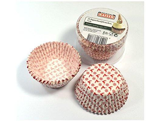 Kaiser Muffin-Papierbackförmchen weiß mit Rentieren / Schneeflocken 75 Stück