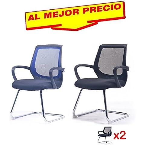 CONJUNTO 2 SILLONES OFICINA MODELO CITY , CON ESTRUCTURA DE PATÍN CROMADO, DISEÑO MODERNO- OFERTAS HOGAR Y OFICINA -¡AL MEJOR PRECIO!
