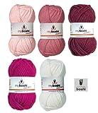 Mix-Sortiment myboshi Baby Girl 5x50g (weiß 191, magnolie 138, himbeere 139, brombeere 164, magenta 162) + 1 myboshi Label