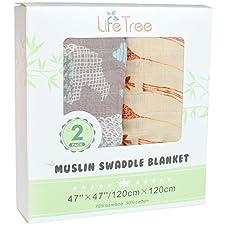 Lifetree Musselin Swaddle Pucktücher aus Puckdecken - (2 Stück, Giraffe & Bear) Bambus Baumwolle Baby Einschlagdecke, Spucktücher & Buggy Cover - weiche Baby Decken für Jungen und Mädchen