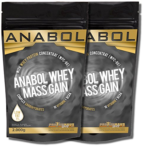 ANABOL WHEY MASS GAIN Cappuccino 4KG | 4000g für HARDGAINER Muskelaufbau | Kohlenhydrat-Mix aus Whey-Protein (WPC-80) und CARBS mit extra Aminosäuren BCAA | Glutamin