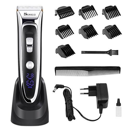 Haarschneider Profi Friseur, Wiederaufladbarer Haarschneider männer mit LCD Power Anzeige Profi Haarschneidemaschine Set