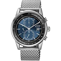 Citizen Watch Mesh Men's Quartz Watch with Blue Dial Chronograph Display and Silver Stainless Steel Bracelet CA0331-56L