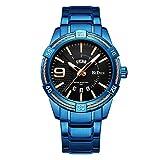 XLORDX Herren Uhren Schwarz Multifunktional Datumskalender Wasserdicht Analoge Quarz Sport Uhr mit Blau Edelstahl Armbanduhren Luxus Elegant Geschäft