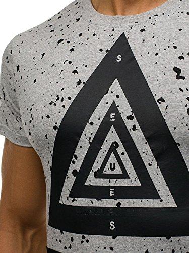 BOLF Herren T-Shirt Tee Kurzarm Slim Fit Rundhals Basic Classic Party 3C3 Motiv Grau