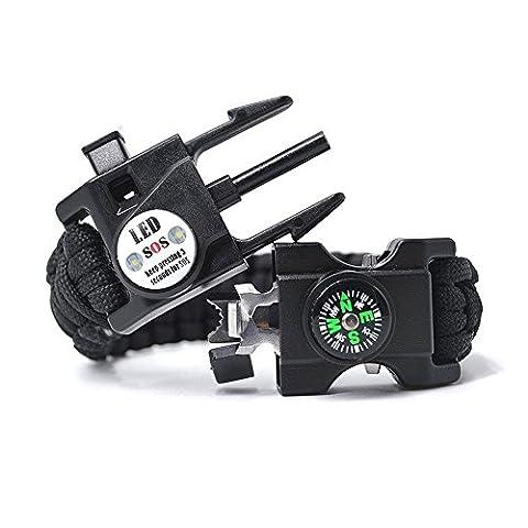 SOS Paracord Armband, 20 in 1 Emergency Survival Kits mit LED Licht, Feuer Starter, Kompass, Whistle Perfekt zum Wandern Camping(2 PCS) (Schwarz)