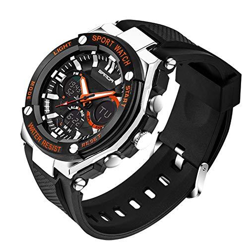 SANDABand Sportuhr Herren Militäruhr Wasserdicht Top Marken Digital Quarz Armbanduhr Datumskalender,Orange