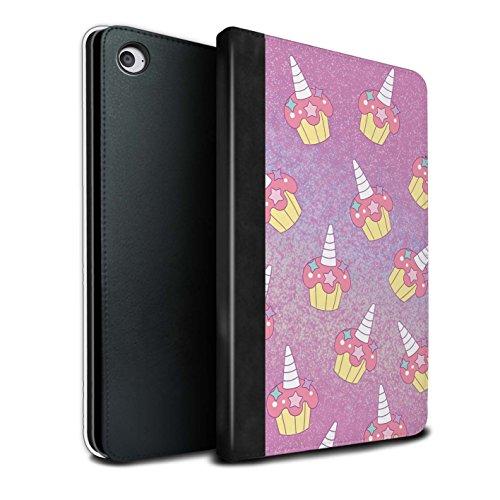STUFF4 PU-Leder Hülle/Case/Brieftasche für Apple iPad Mini 4 tablet / Rosa Cupcake/Kuchen Muster / Einhorn/Unicorn Kollektion
